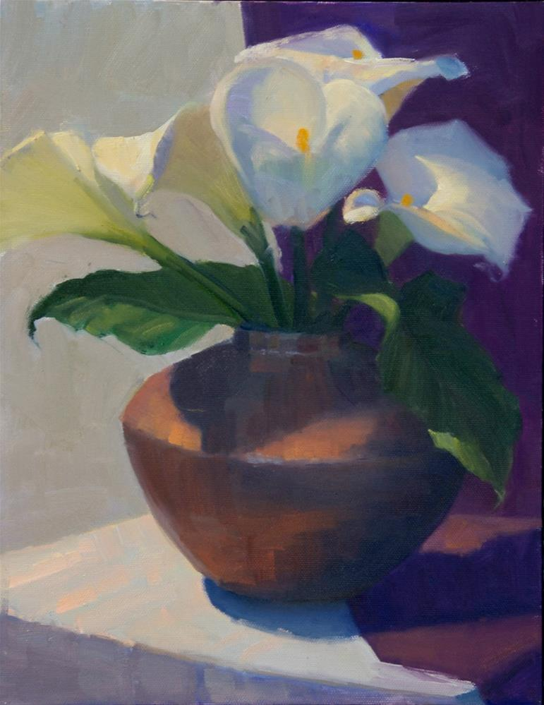 """""""Still Life With Calla Lilies"""" original fine art by Kathy O'Leary"""