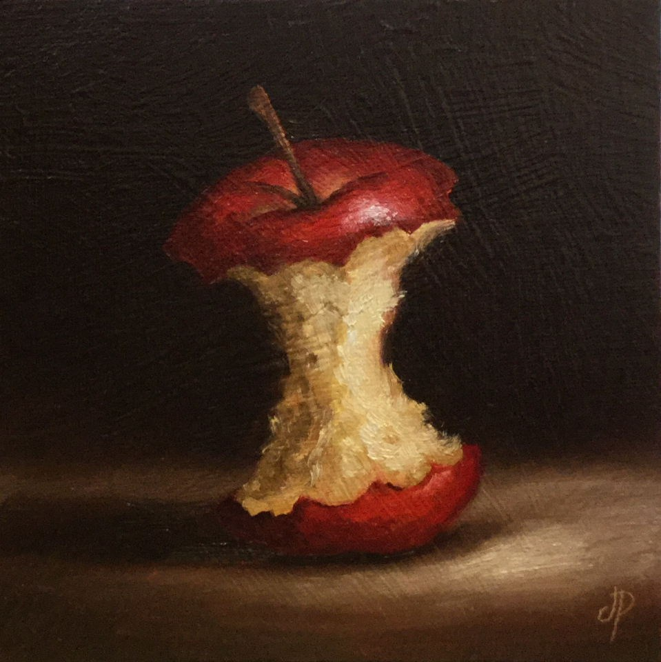"""Apple core"" original fine art by Jane Palmer"