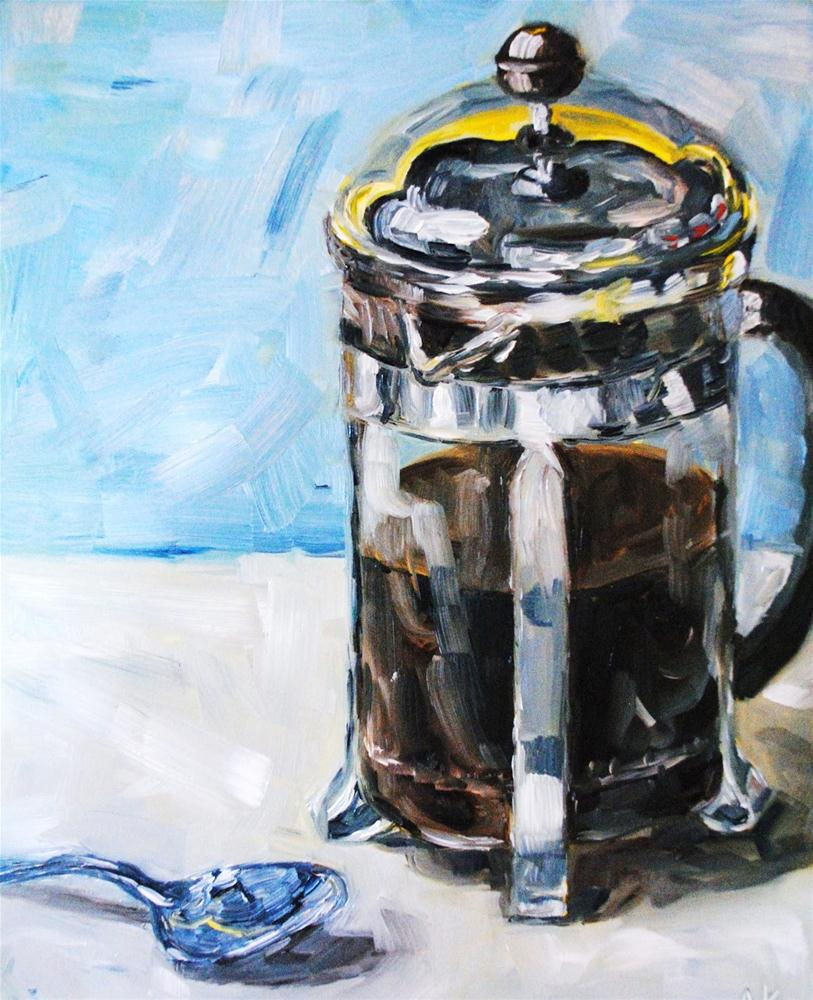French Press and Spoon original fine art by Alison Kolkebeck
