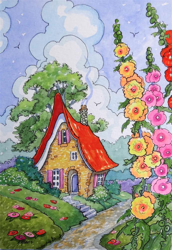 """""""At the Edge of the Road Storybook Cottage Little House series"""" original fine art by Alida Akers"""