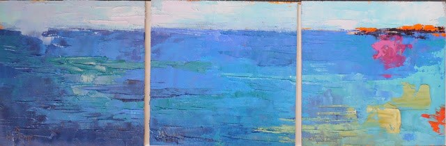 """Daily Painting Small Oil Painting, Abstract Triptych, 6x18 Ode to Blue"" original fine art by Carol Schiff"
