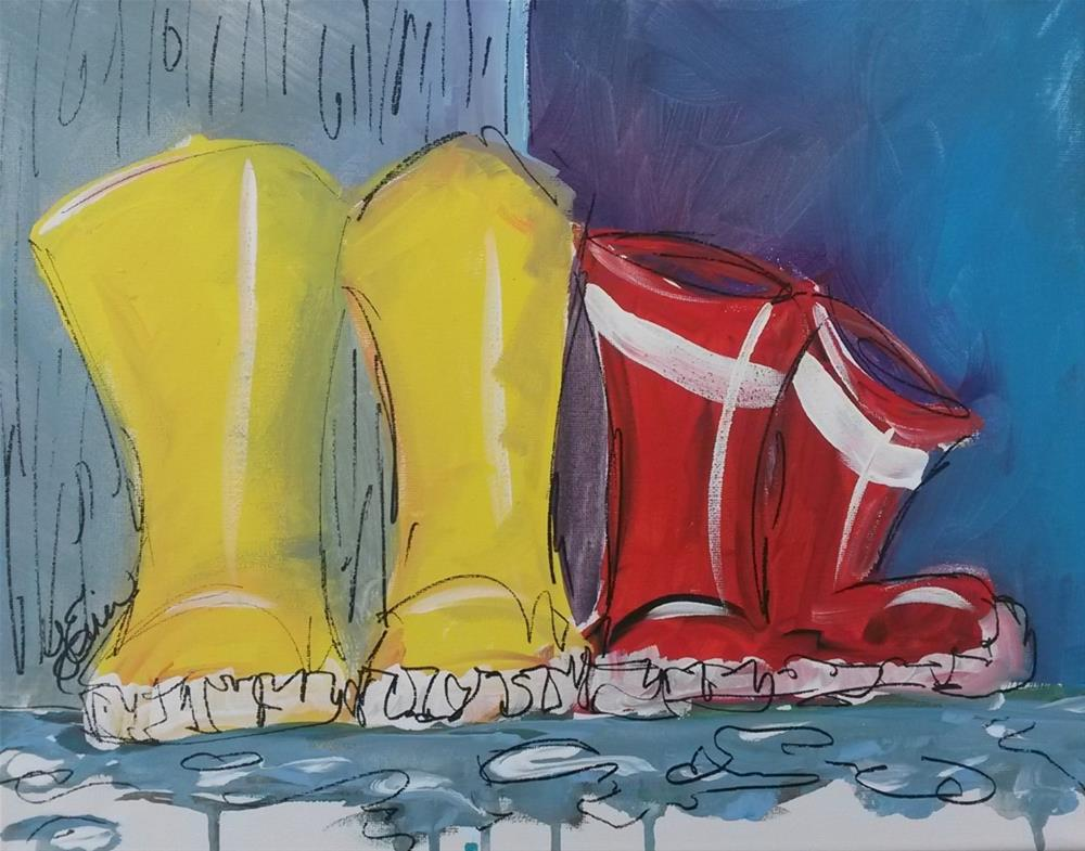 """2Rainboots"" original fine art by Terri Einer"