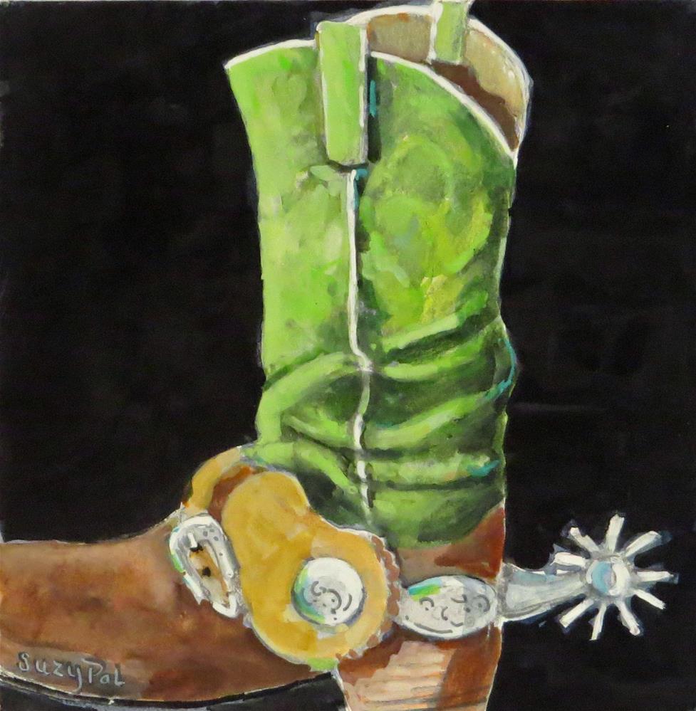 """Green Boots"" original fine art by Suzy 'Pal' Powell"