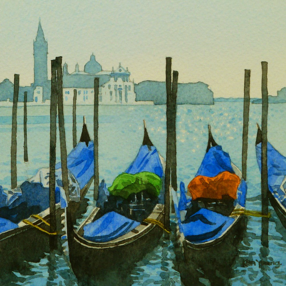 """Gondolas at St Mark's"" original fine art by Ken Young"