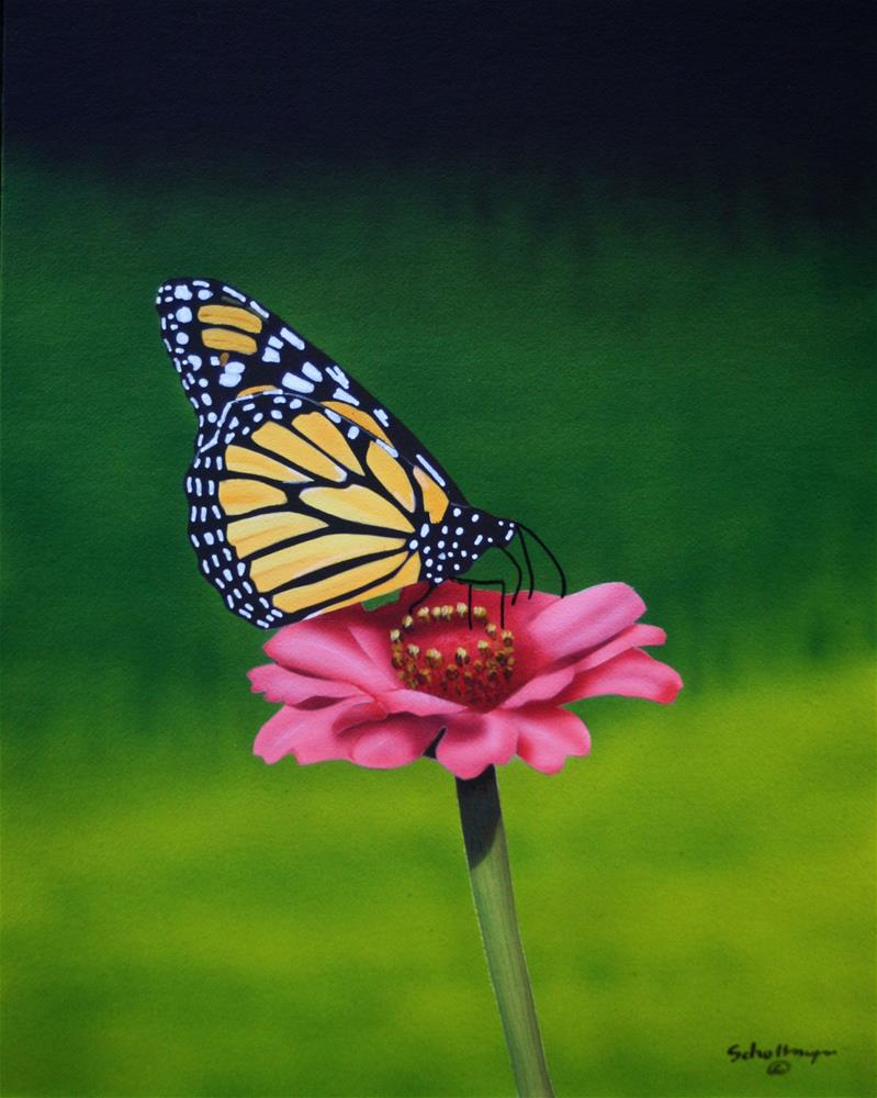 """Flower & Butterfly"" original fine art by Fred Schollmeyer"