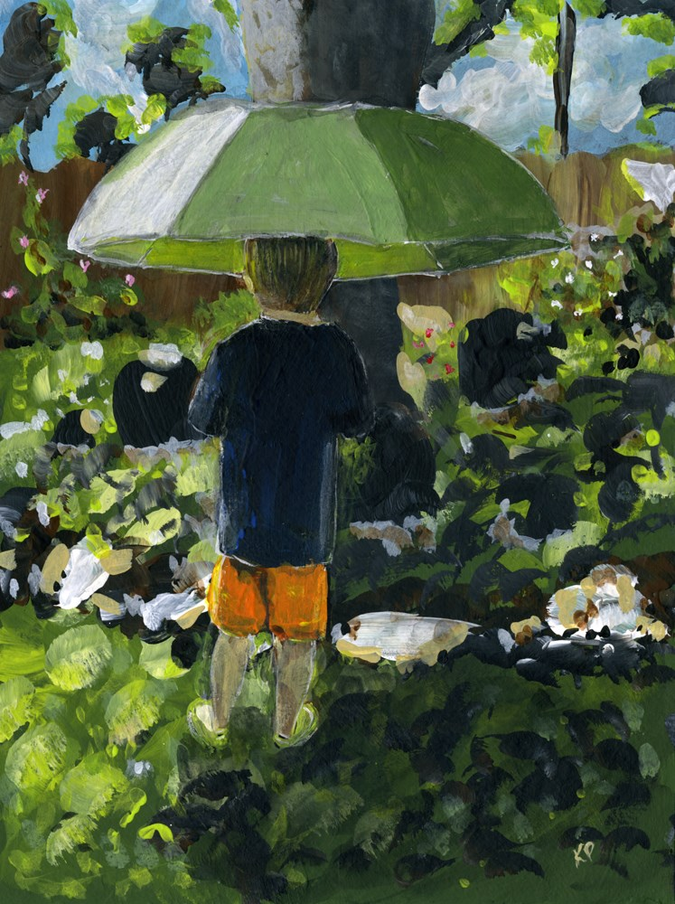 """Grandson with Rainbrella"" original fine art by Kali Parsons"