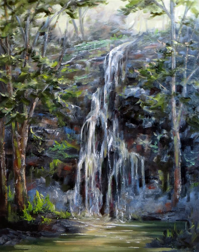 """Waterfall in the Woods"" original fine art by Tammie Dickerson"