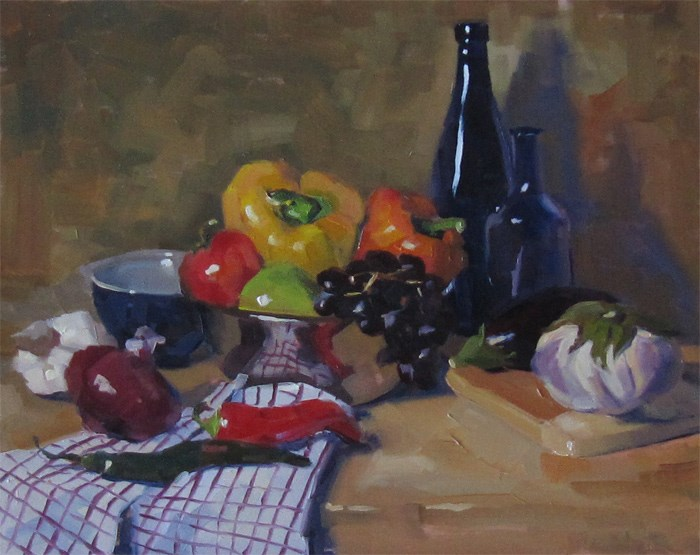 """Composition with Bottles"" original fine art by Katia Kyte"