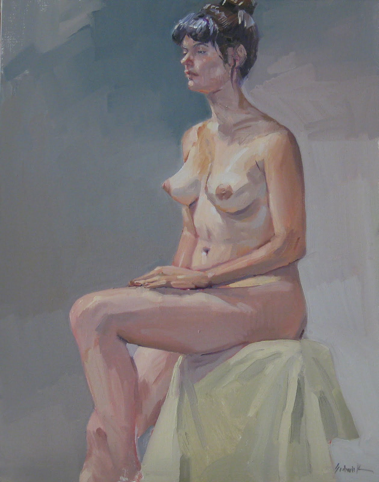 """Figure Painting / Nude: Miranda in August original oil on canvas"" original fine art by Sarah Sedwick"