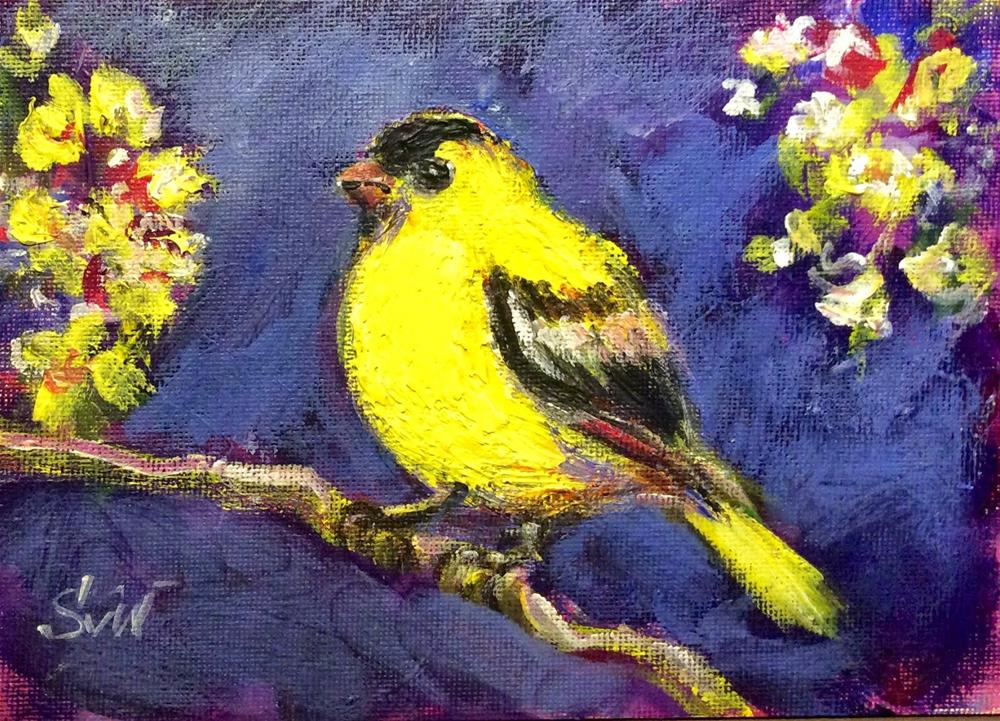 """Goldfinch bird painting"" original fine art by Sonia von Walter"