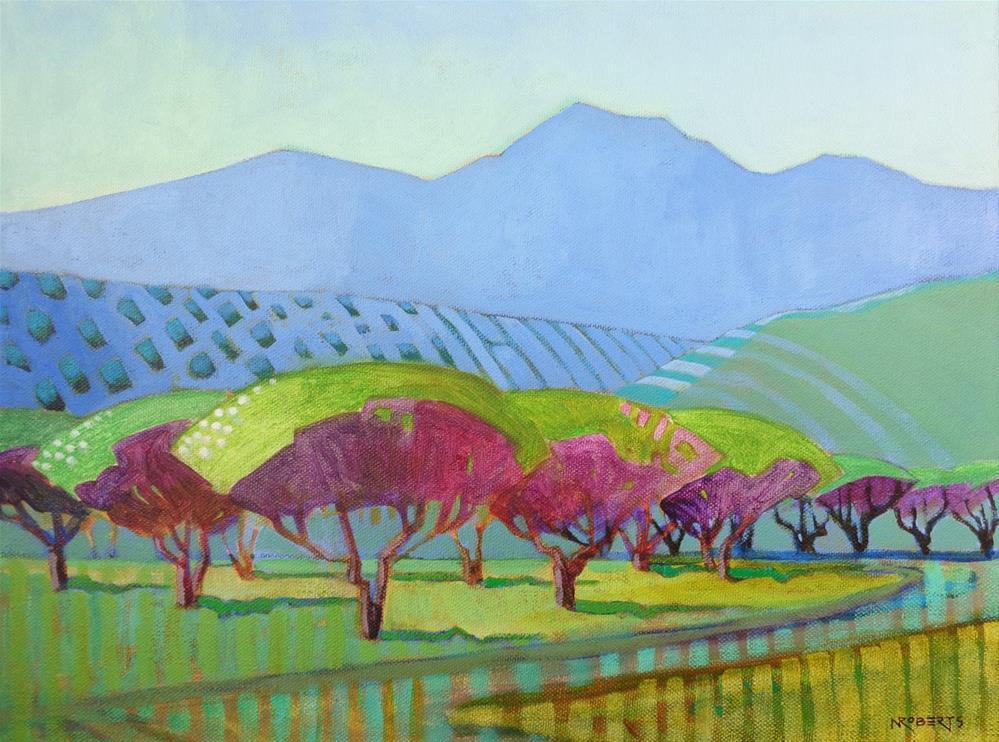 """Marsh Creek Orchard"" original fine art by Nancy Roberts"