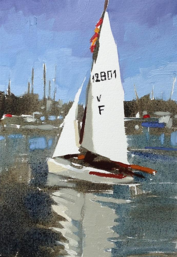"""Sailing dinghy at Paimpol"" original fine art by Haidee-Jo Summers ROI"