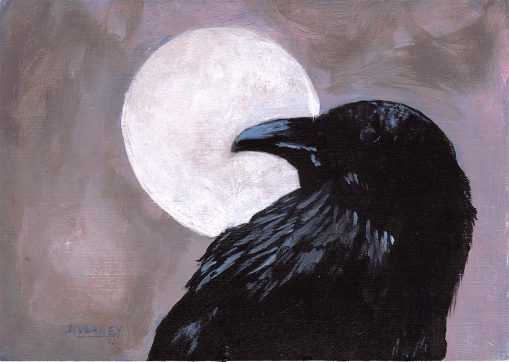 """Raven under full moon"" original fine art by Daniel Varney"