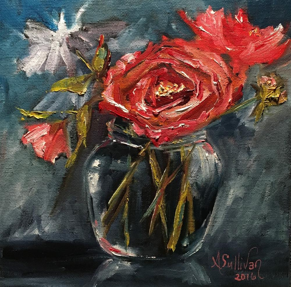"""Everyone Needs A Friend rose painting by Alabama Artist Angela Sullivan"" original fine art by Angela Sullivan"