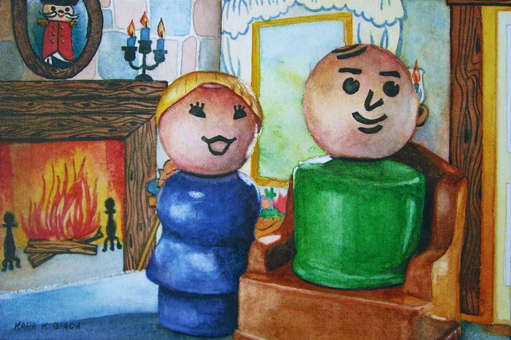 """Fireside Chat"" original fine art by Kara K. Bigda"