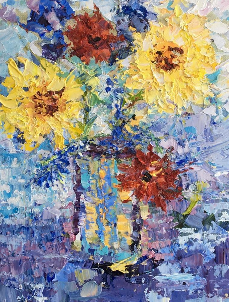 """Still Life Palette Knife Floral Fine Art Painting Impressions by Colorado Impressionist Judith Bab"" original fine art by Judith Babcock"