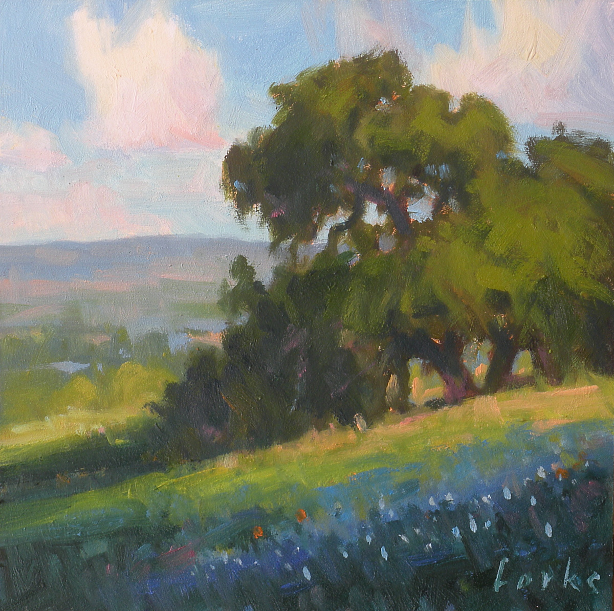 """Oak on a Hill"" original fine art by David Forks"