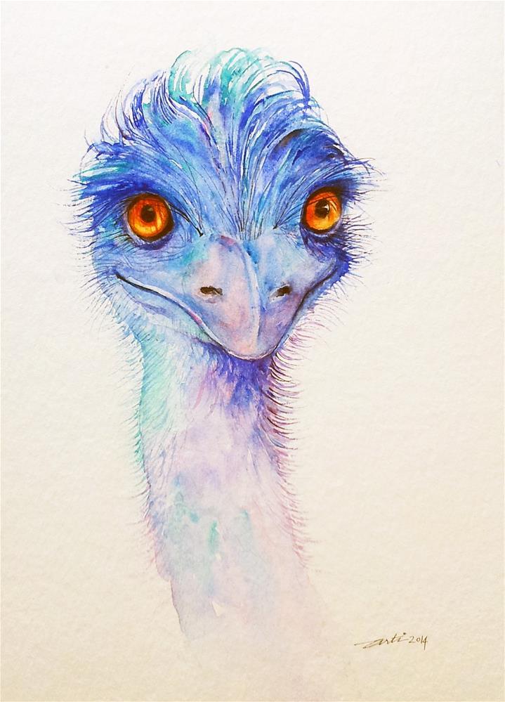 """""""Emu in Blue"""" original fine art by Arti Chauhan"""