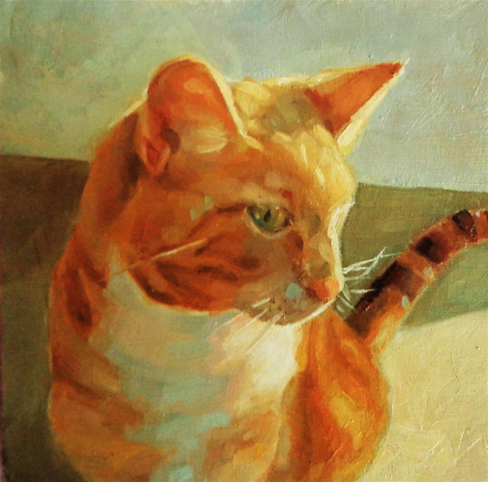 """Orange cat"" original fine art by Maria Z."