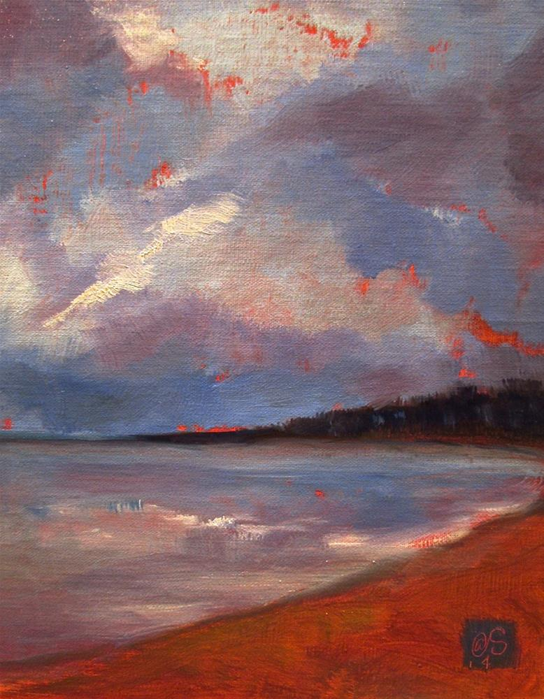 """Saugatuck Reservoir Dusk"" original fine art by Aurelio Saiz"