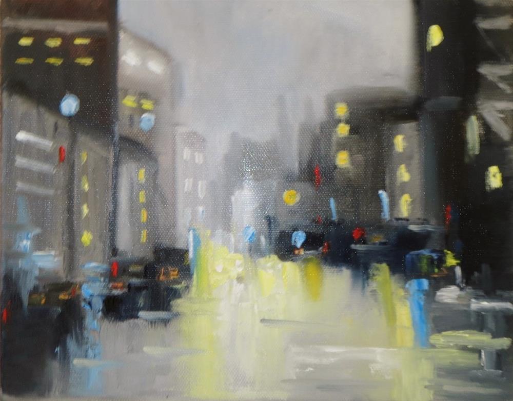 """Cityscape at night"" original fine art by Astrid Buchhammer"