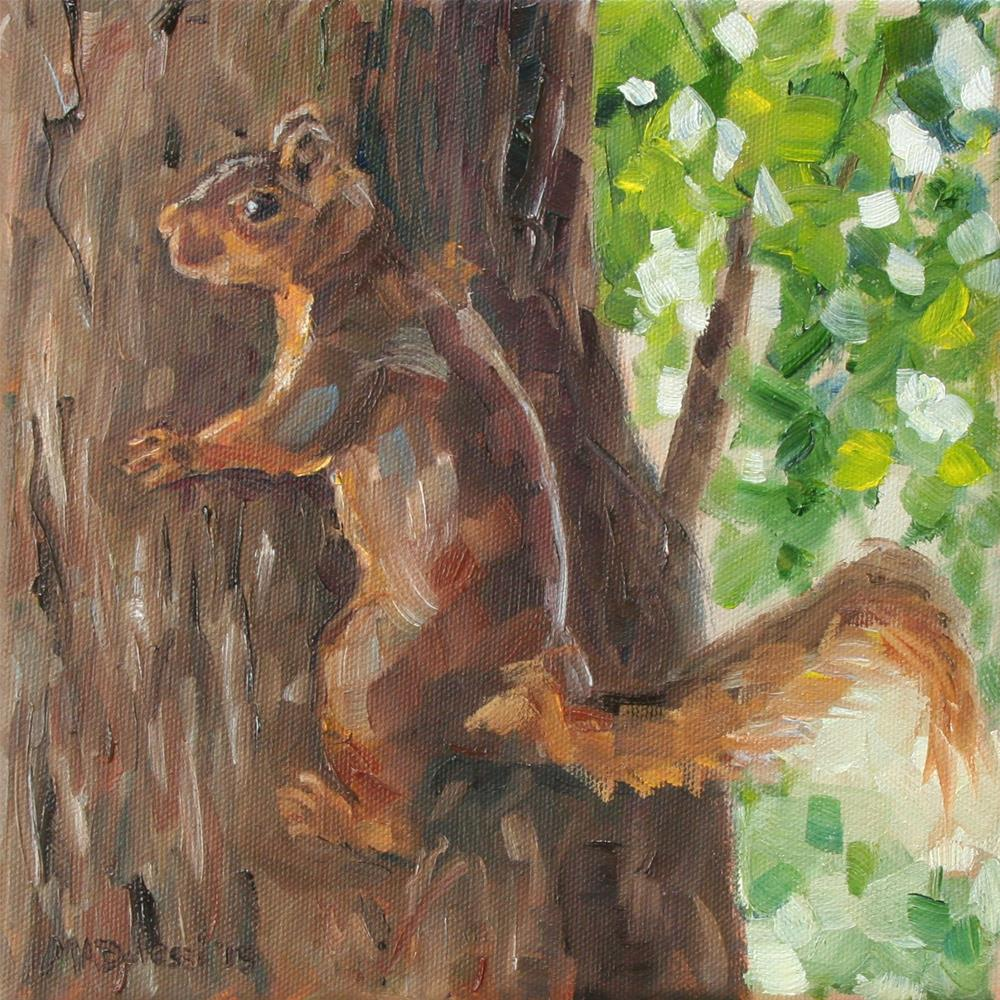 """Camouflaged squirrel"" original fine art by Miranda Dalessi"