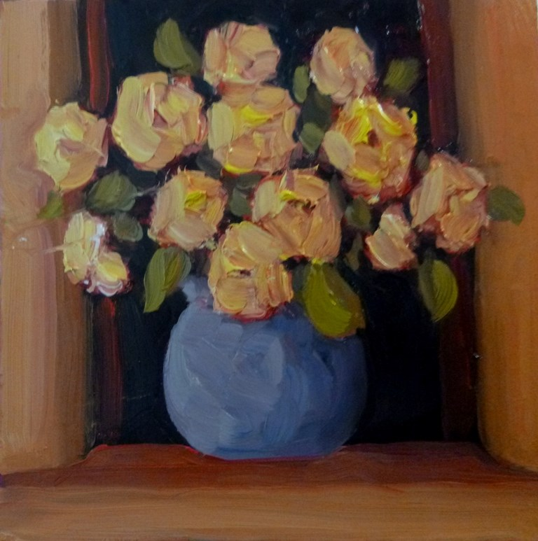 """71 ROSES IN THE WINDOW"" original fine art by Dee Sanchez"