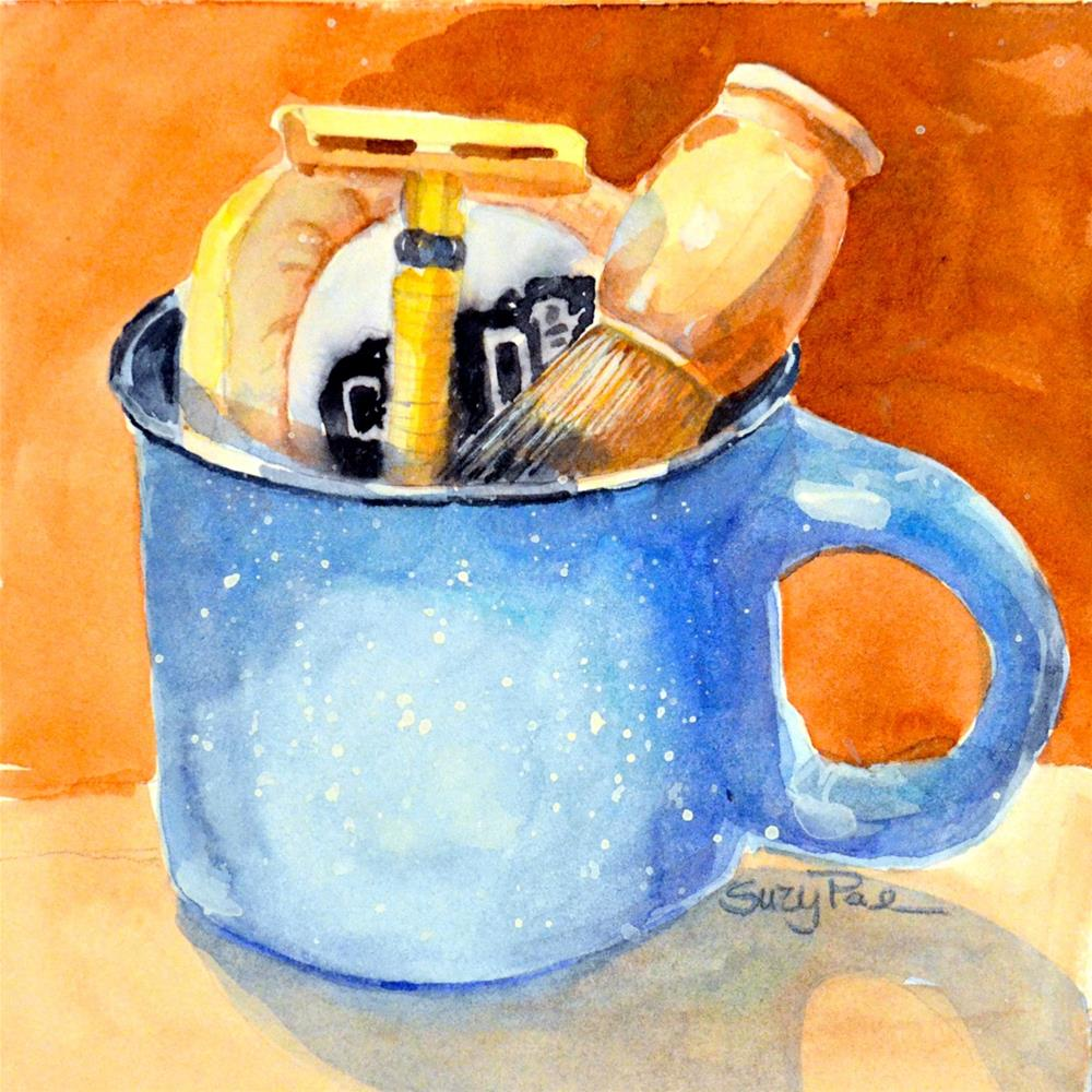 """Blue Shaving Mug"" original fine art by Suzy 'Pal' Powell"
