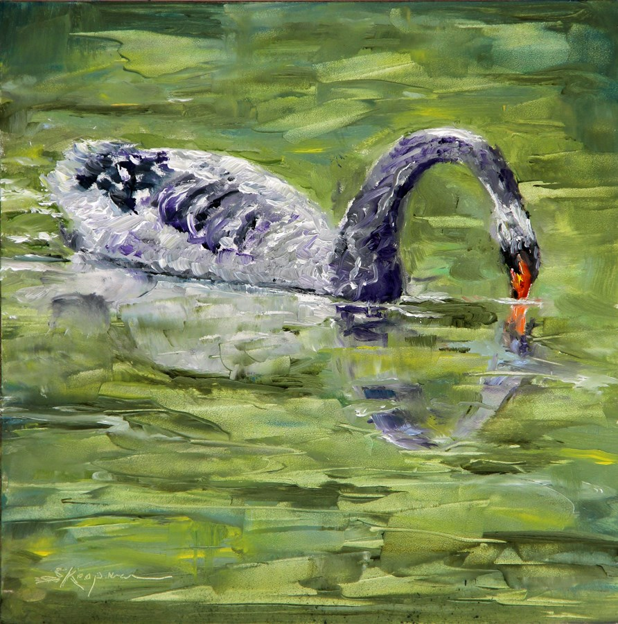 """Narcissism on Swan Lake"" original fine art by Shelley Koopmann"