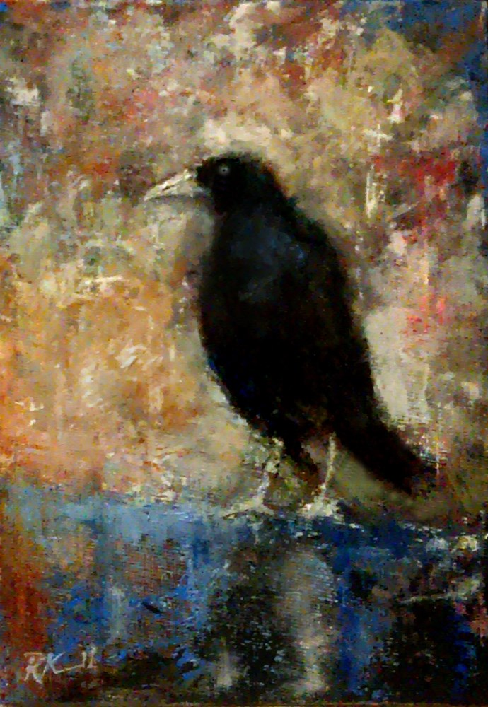 """Raven on a Blue Fence"" original fine art by Bob Kimball"