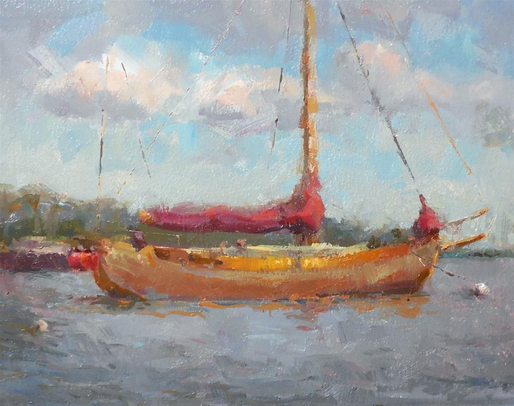"""Harbourfront  Sailboat 01"" original fine art by Michael Pieczonka"
