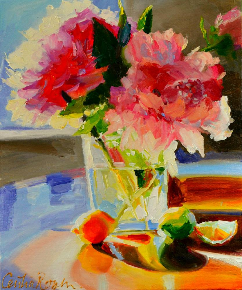 """PEONIES"" original fine art by Cecilia Rosslee"