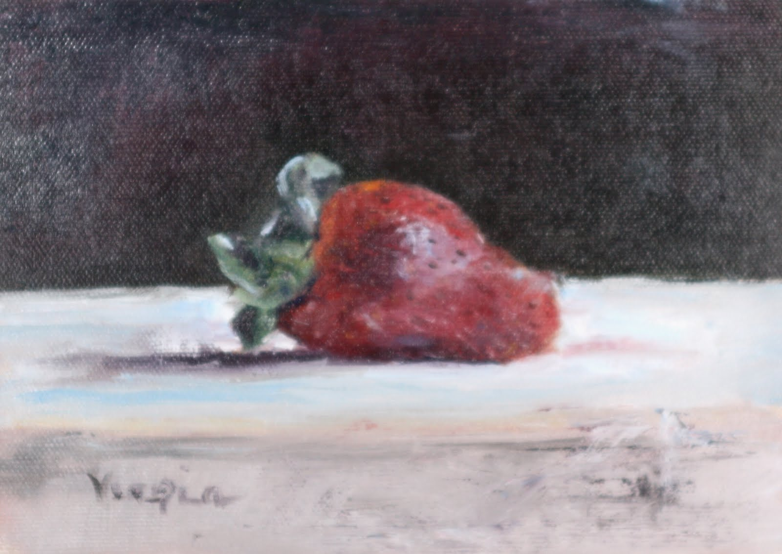 """oil painting still life with strawberry"" original fine art by Carrie Venezia"