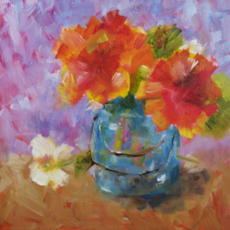 """Cheerful Geraniums"" original fine art by Sue Churchgrant"