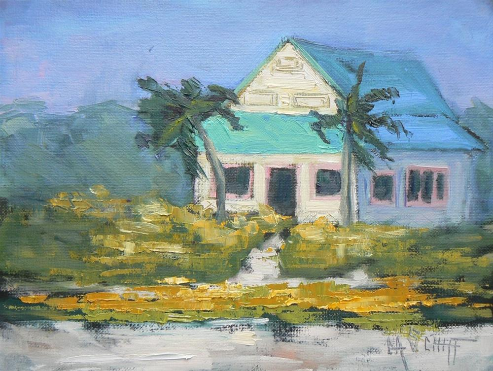 """Daily Painting, Sanibel Beach Cottage 6x8, oil"" original fine art by Carol Schiff"