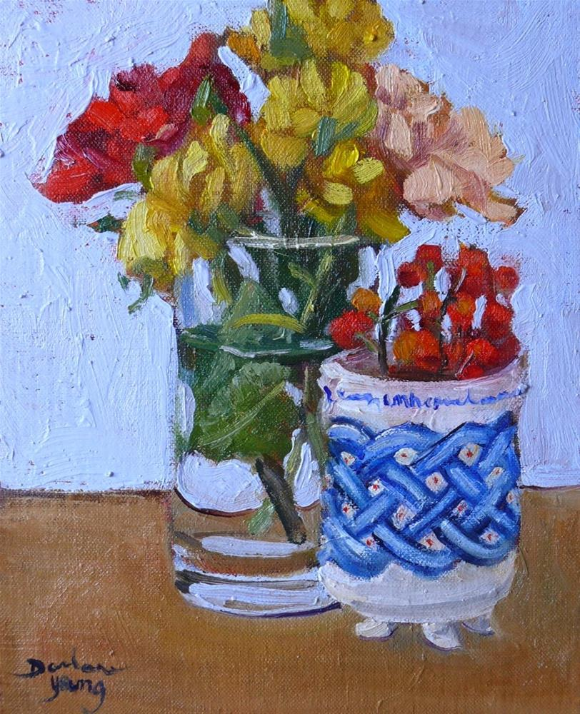 """776 Roses and Robert Amos Pottery"" original fine art by Darlene Young"