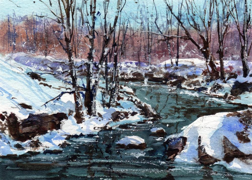 """February Snow"" original fine art by Linda Henry"