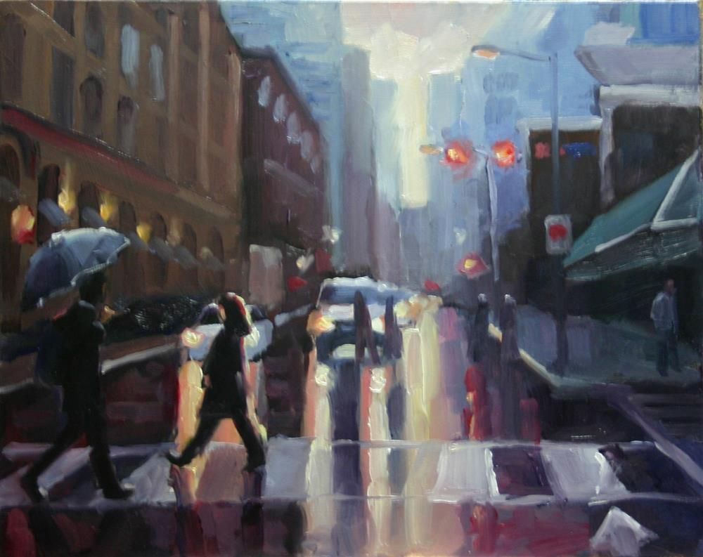 """Crossing at King and Simcoe, Toronto"" original fine art by Catherine Jeffrey"