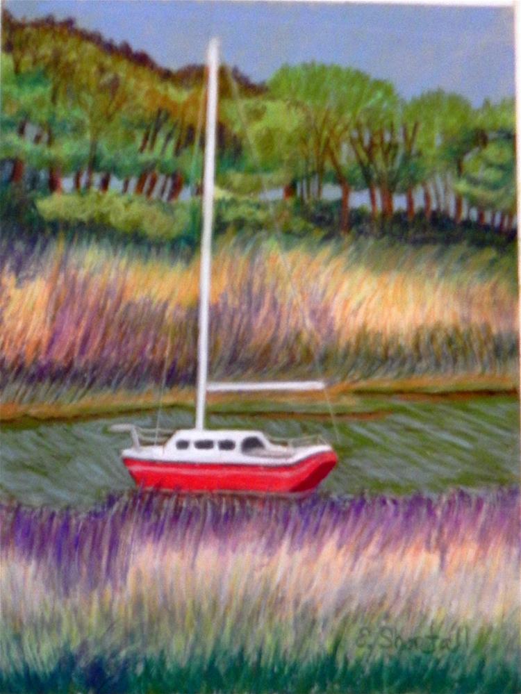"""""""Little Red Sailboat"""" original fine art by Elaine Shortall"""