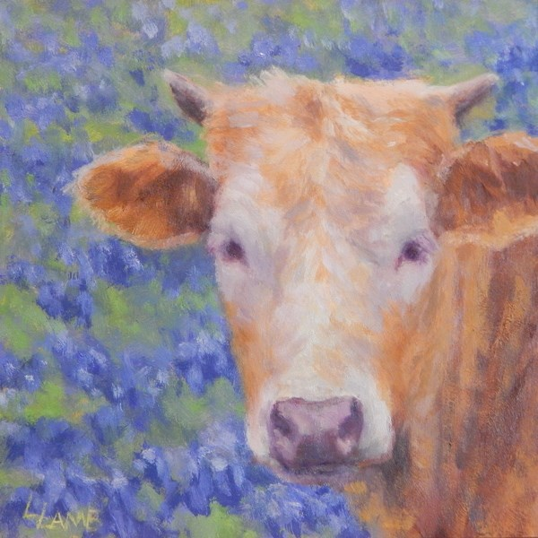 """Bluebonnet Calf"" original fine art by Lori L. Lamb"