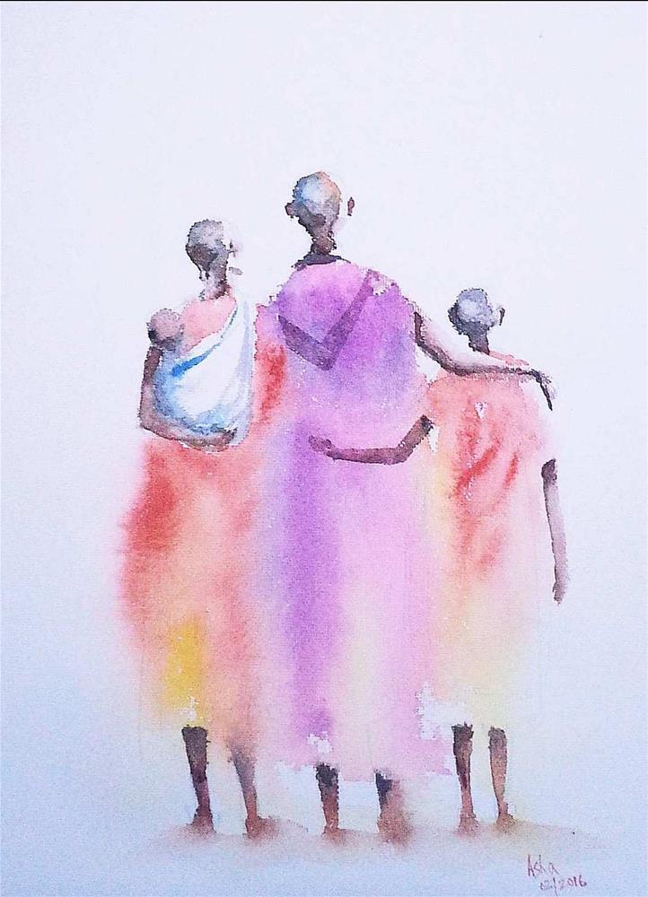 """The family"" original fine art by Asha Shenoy S"
