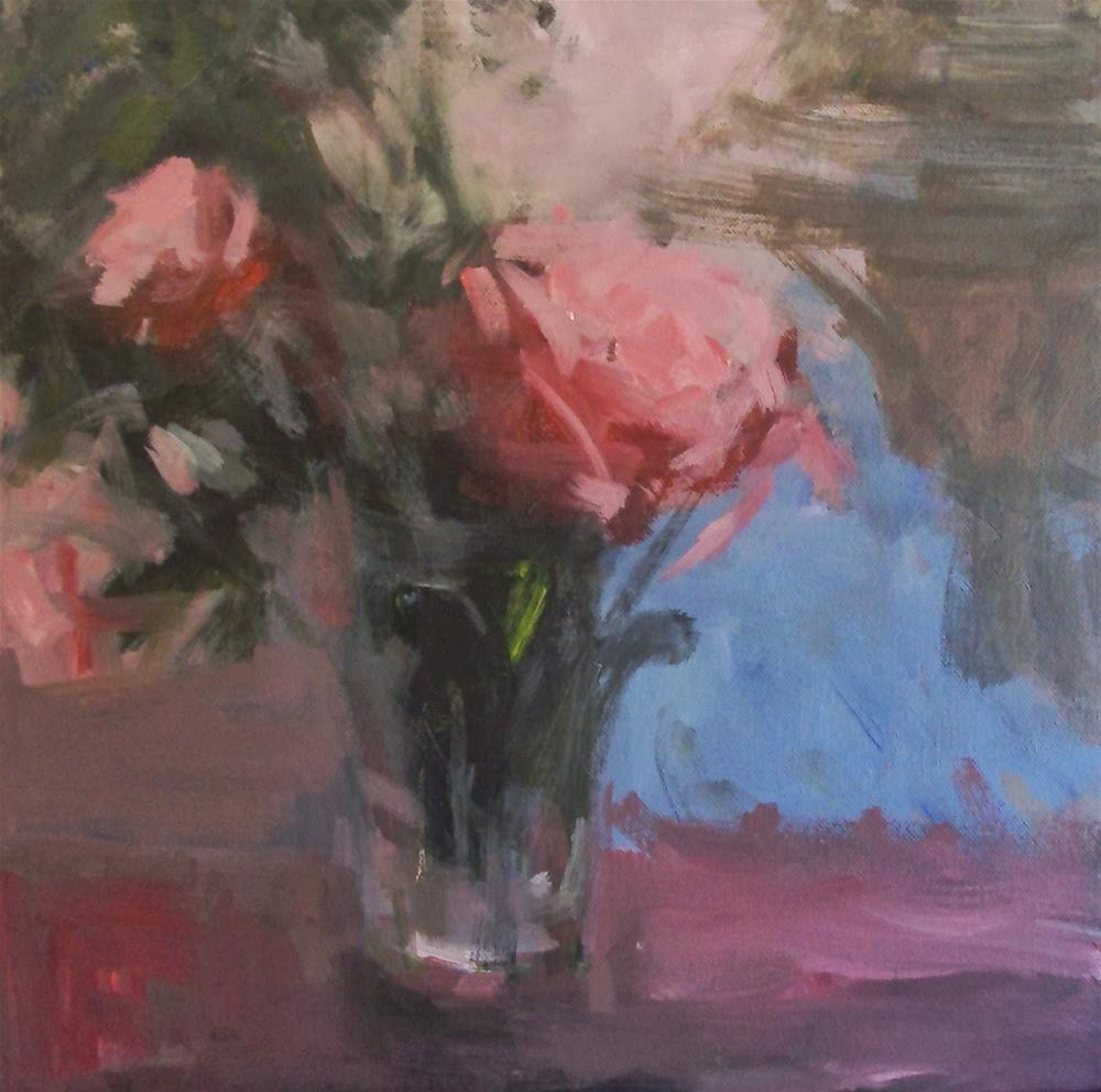 """Bluse sky behind the pink roses"" original fine art by Parastoo Ganjei"