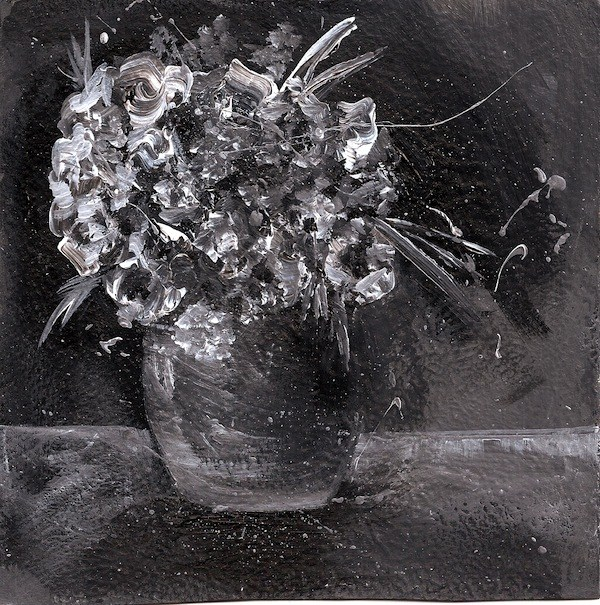 """Black and White Floral Bouquet in Vase"" original fine art by Penny Lee StewArt"