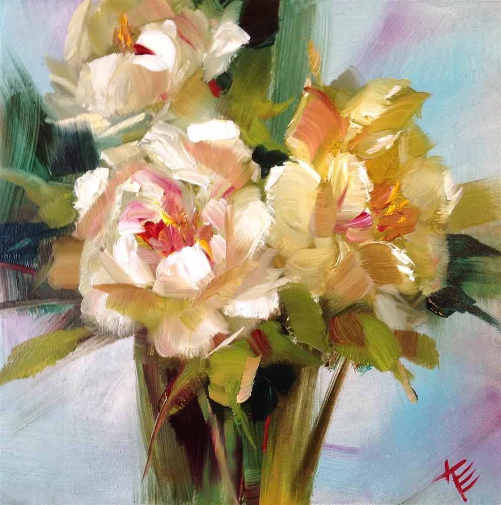 """Peonies still life"" original fine art by Krista Eaton"