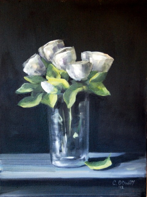 """White Roses on Black"" original fine art by Christina Dowdy"