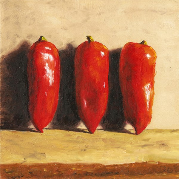 """Three Peppers Standing"" original fine art by Peter J Sandford"