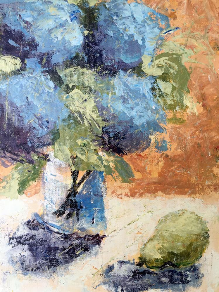 """Hydrangea and Pear, Demo 4"" original fine art by Susan Elizabeth Jones"