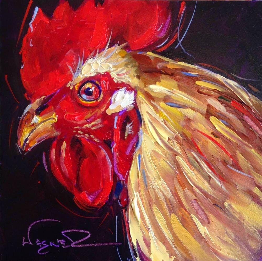 """Loving Color Day 18- ORIGINAL ROOSTER  PAINTING in OILS by OLGA WAGNER"" original fine art by Olga Wagner"