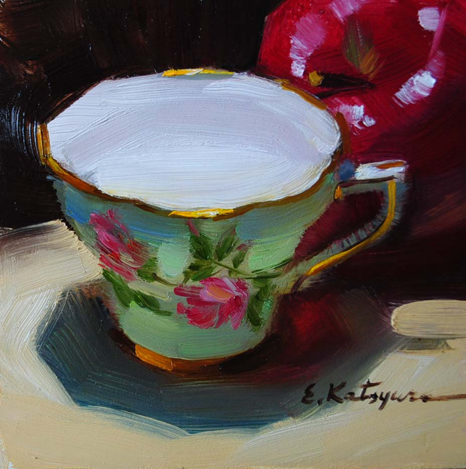 """Time for Tea"" original fine art by Elena Katsyura"