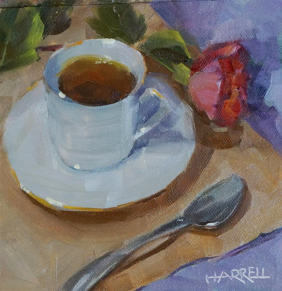"""Tea and Rose"" original fine art by Sue Harrell"